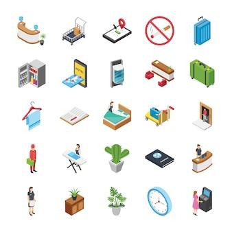 Conjunto de ícones isométricos do hotel