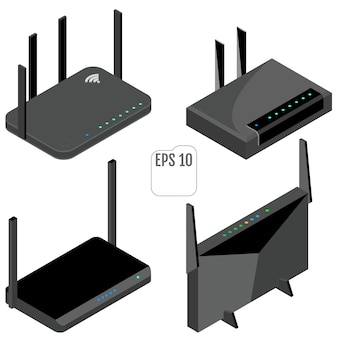 Conjunto de ícones isométricos do roteador. conjunto de ícones de roteador wi-fi.
