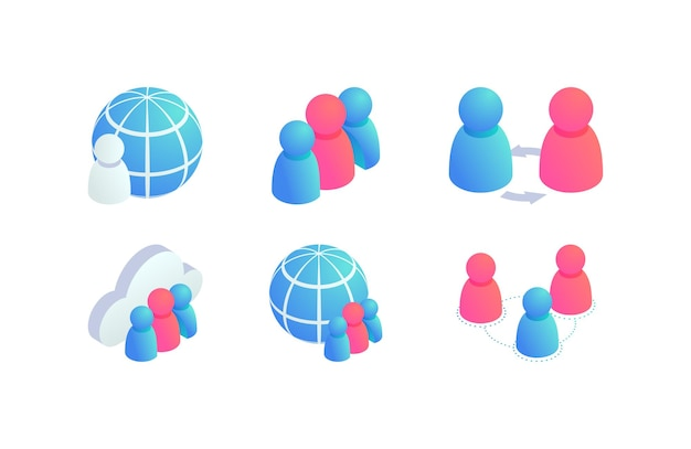 Conjunto de ícones isométricos do trabalho em equipe global de pessoas. negócios do globo 3d, usuários de redes de mídia social, sinal de comunicação de internet, símbolo de colaboração.