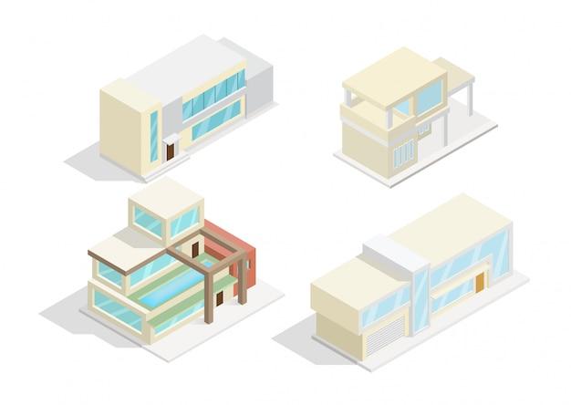 Conjunto de ícones isométricos ou elementos de infográfico representando casas modernas