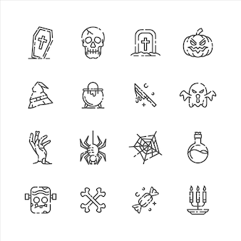 Conjunto de ícones limpos de halloween