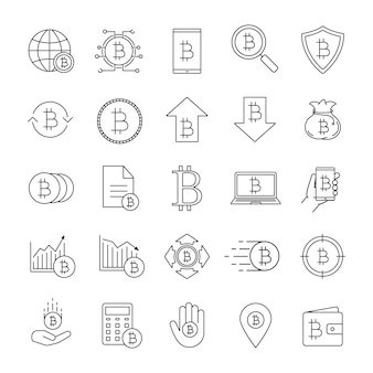Conjunto de ícones linear bitcoin