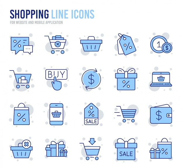 Conjunto de ícones linear de compras