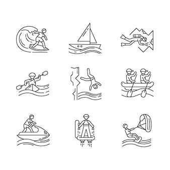 Conjunto de ícones linear de esportes náuticos