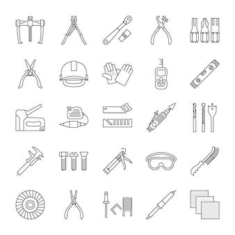 Conjunto de ícones linear de ferramentas de construção