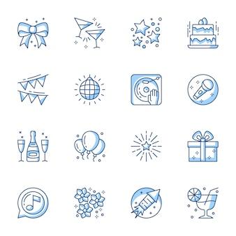 Conjunto de ícones linear de festa.