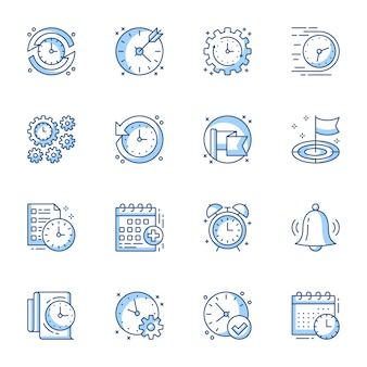 Conjunto de ícones linear de gerenciamento de tempo e projeto.
