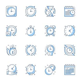 Conjunto de ícones linear de gerenciamento de tempo.