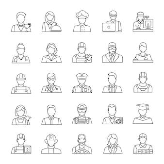 Conjunto de ícones linear de profissões