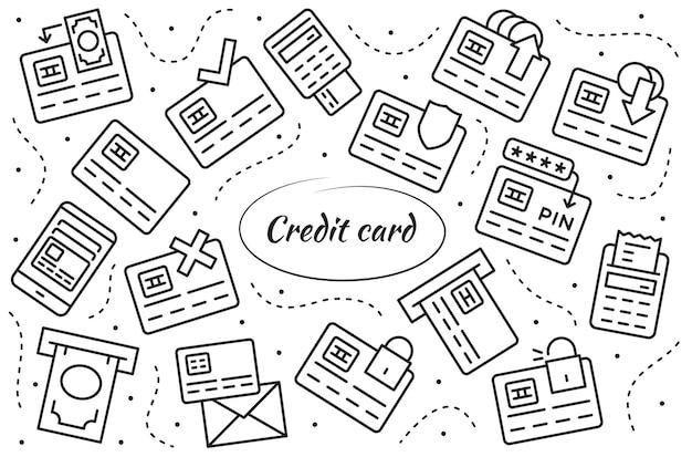 Conjunto de ícones lineares de cartão de crédito. coleção de símbolos de vetor simples.