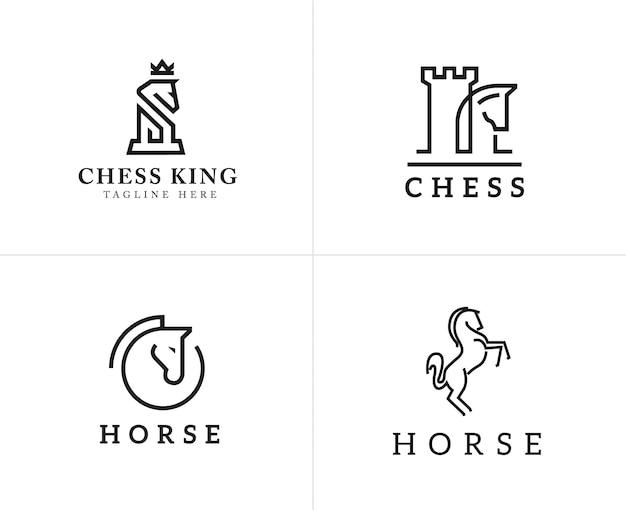 Conjunto de ícones lineares de cavalo e elementos de design de logotipo
