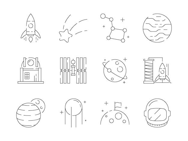 Conjunto de ícones lineares de espaço