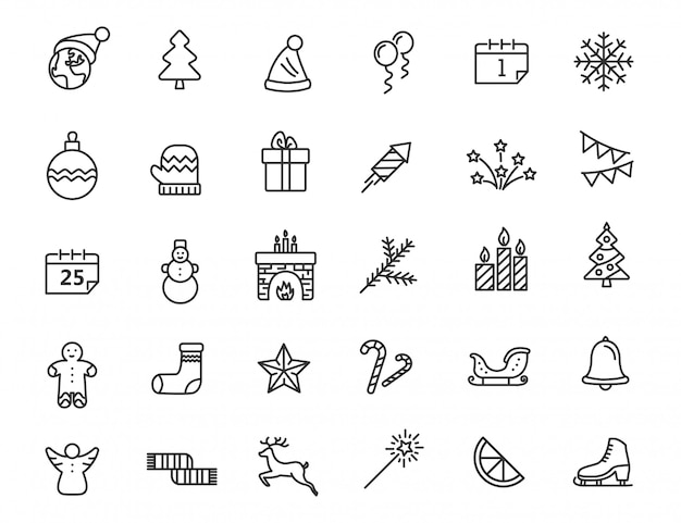 Conjunto de ícones lineares de natal. ano novo ícones no design simples.