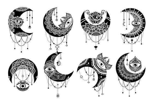Conjunto de ícones lineares de símbolo de contorno de lua crescente