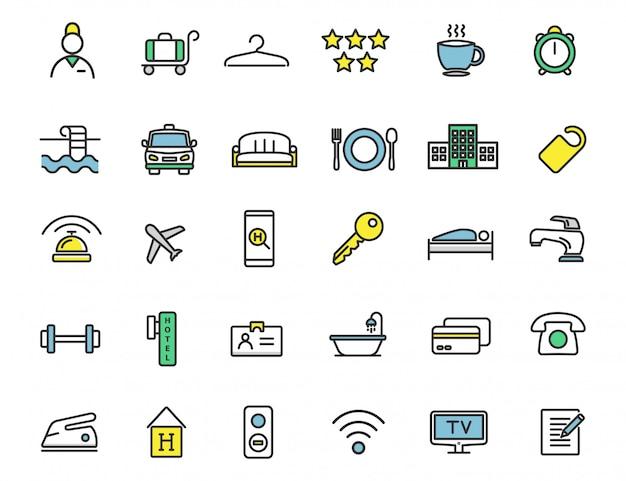 Conjunto de ícones lineares do hotel ícones de viagens