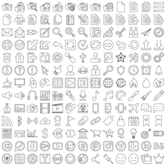 Conjunto de ícones lineares para web