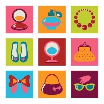 Conjunto de ícones lisos da moda feminina