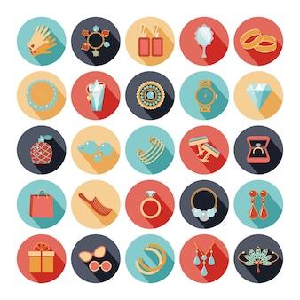 Conjunto de ícones lisos de acessórios de moda. diamante e pedra preciosa, pulseira e broche, perfume e esmeralda. ilustração vetorial