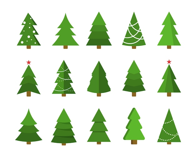 Conjunto de ícones lisos de árvore de natal coleção de artesanato de desenhos animados de natal ano novo elemento de design de férias de inverno