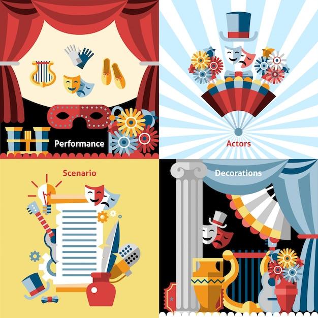 Conjunto de ícones lisos do teatro