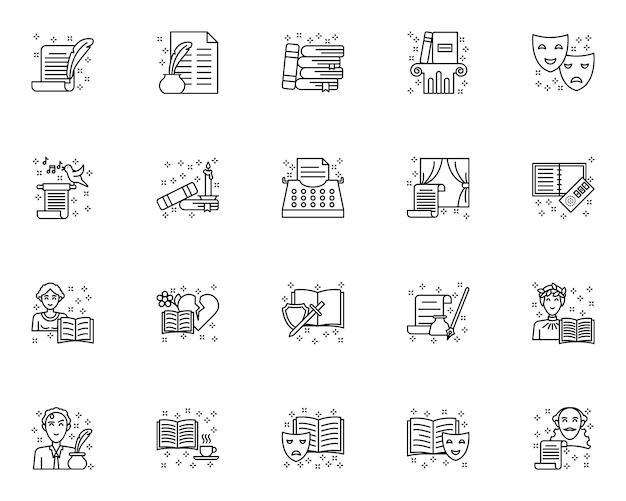 Conjunto de ícones literários de contorno