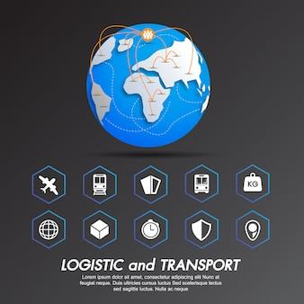 Conjunto de ícones logística e transporte