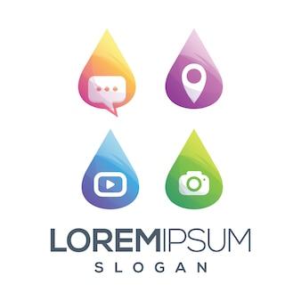Conjunto de ícones logotipo clloection gradiente