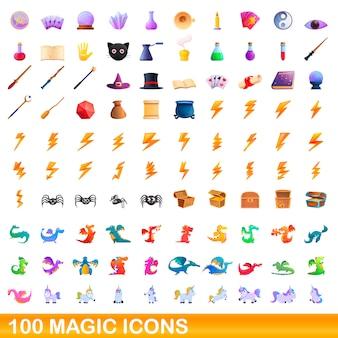Conjunto de ícones mágicos, estilo cartoon