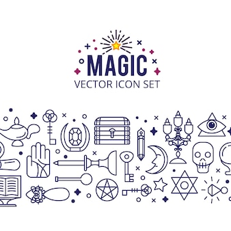 Conjunto de ícones mágicos. faíscas luzes mágicas. milagre misterioso