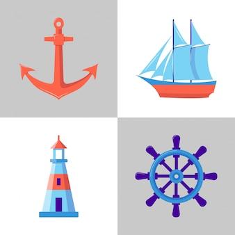 Conjunto de ícones marinhos em estilo simples