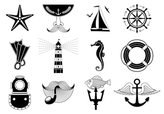 Conjunto de ícones marinhos em preto e branco ou coleção de símbolos de viagens náuticas