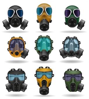 Conjunto de ícones máscara de gás.