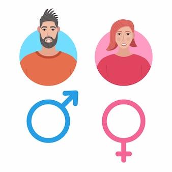Conjunto de ícones masculino e feminino. avatar de usuário de homem e mulher.