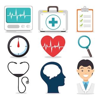 Conjunto de ícones médicos de saúde mental e médica