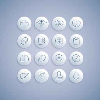 Conjunto de ícones médicos em comprimidos