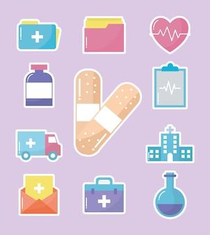 Conjunto de ícones médicos em design de ilustração rosa