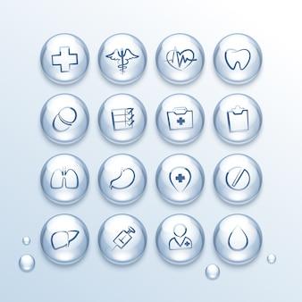 Conjunto de ícones médicos em gotas