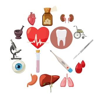 Conjunto de ícones médicos, estilo cartoon