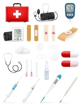 Conjunto de ícones médicos, ferramentas, ferramentas e estoque de objetos, ilustração isolada no fundo branco