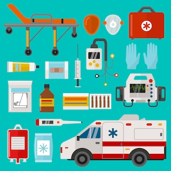 Conjunto de ícones médicos ilustração de hospital de emergência de ambulância de cuidados