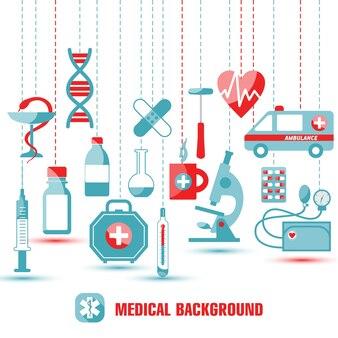 Conjunto de ícones médicos. ilustração de ícones em design plano.