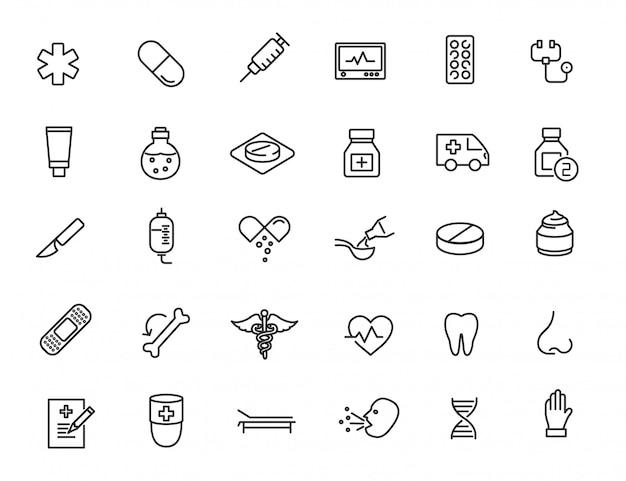 Conjunto de ícones médicos lineares