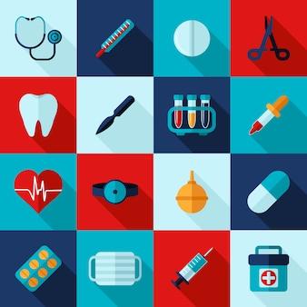 Conjunto de ícones médicos plana