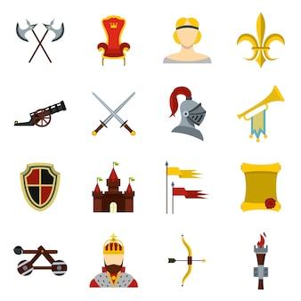 Conjunto de ícones medievais.