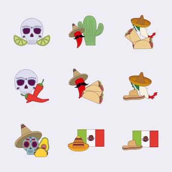 Conjunto de ícones mexicanos coloridos isolados