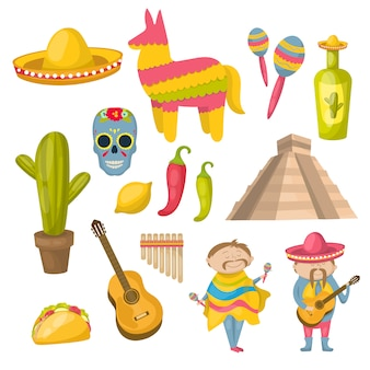 Conjunto de ícones mexicanos com residentes locais de tradições e características distintivas da ilustração em vetor país