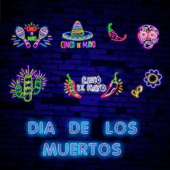Conjunto de ícones mexicanos de néon para dia de los muertos