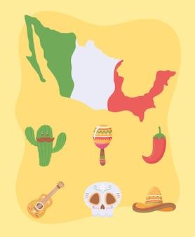 Conjunto de ícones mexicanos viva