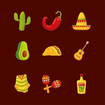 Conjunto de ícones mexicanos