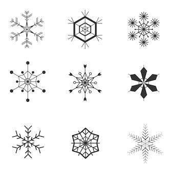 Conjunto de ícones mínimos de floco de neve.